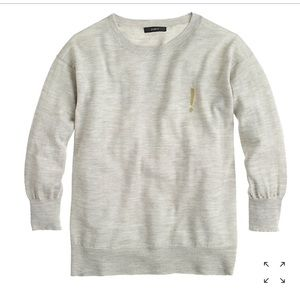 J. Crew gold exclamation point grey sweater S